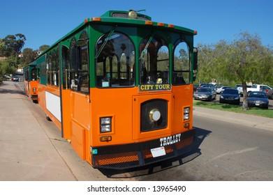Tour trolley; Old Town; San Diego, California