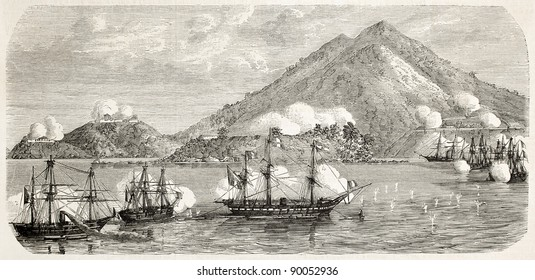 Tourane bay (today Da Nang) bombing by French fleet, China: northern fort and harbor entrance. Created by Lebreton, published on L'Illustration, Journal Universel, Paris, 1858