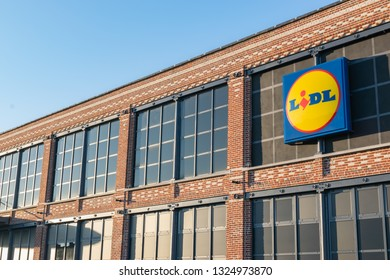 Tourcoing,FRANCE-February27,2019:Building and logo of the newly opened supermarket Lidl.Lidl is a German global discount supermarket chain,operating in 26 European countries and the United States.