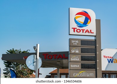 Tourcoing,FRANCE-March 22,2019:View of the gas station Total.Total it is French oil and gas company dealing in the distribution, processing and sale of oil and gas.Founded in 1924.