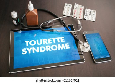 Tourette syndrome (neurological disorder) diagnosis medical concept on tablet screen with stethoscope.