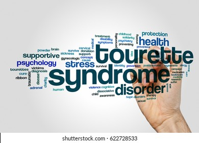 Tourette syndrome word cloud on grey background