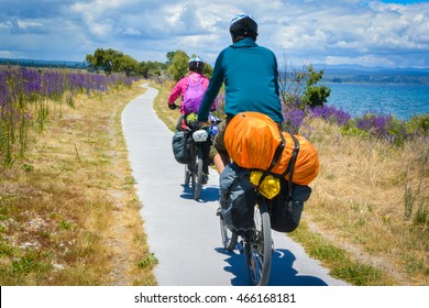 Touring bicycle riding in New Zealand. Taupo lake.
