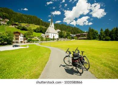 Touring bicycles in a village in Austria