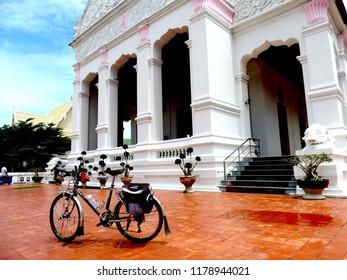 Touring bike in the Bhudda temple,culture city tour,Wat supattnaram ,Ubonratchatani,Thailand