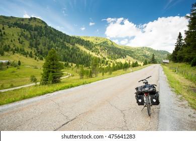 Touring bike on alpine road