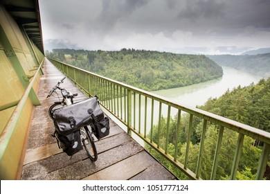 Touring bike on a bridge in Austria