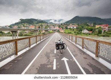 Touring bike on a bridge Dravograd, Slovenia