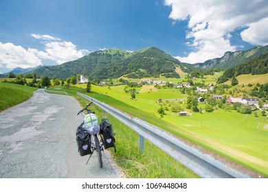 Touring bike on a road in Slovenia