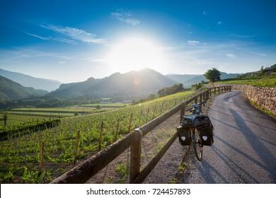 Touring bike on Via Claudia Augusta near Trento, Italy