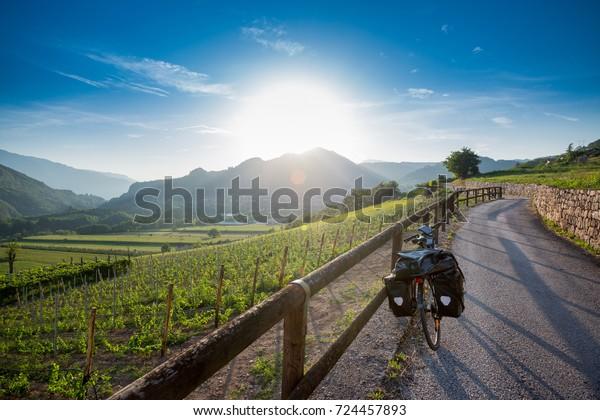 Touring bike on Via Claudia Augusta near Trento, Italien