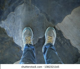 Touring the city of Jaipur, India in adidas Nite Jogger. Photo taken at Albert Hall Museum, and the shoe glows in a dimly lit section of the museum, complemted by the design of the floor tiles.
