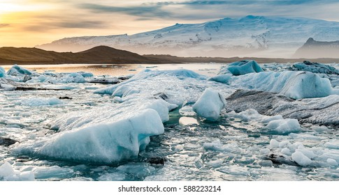 Touring South Iceland at Jokulsarlon. A close encounter with the icebergs.