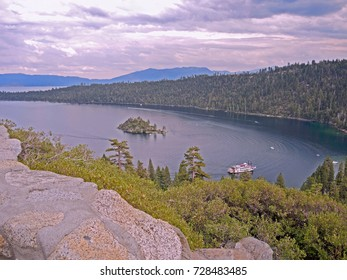 A touring steamboat turns around in Emerald Cove at Lake Tahoe in California.