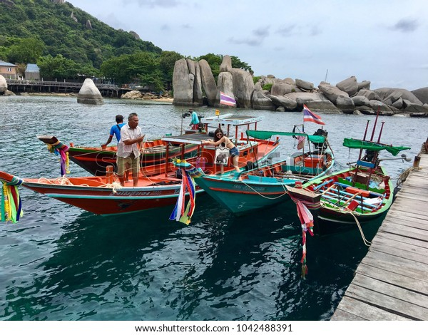 Tourism with boatman go to Koh Nangyuan in Thailand 23/06/17 Editorial