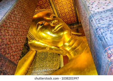Tourism Buddha reclining The biggest in Thailand and It is the worship of the Buddhist. at wat Pho Bangkok is landmark Travel place in holiday.
