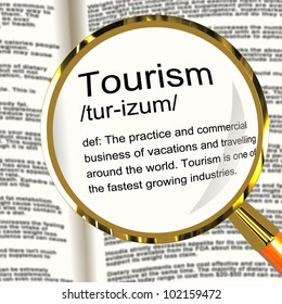 Tourism Definition Magnifier Shows Traveling Vacations And Holidays