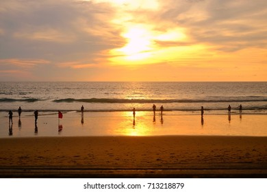 Tourism on sea beach with sun set that mean summer time for holiday,vacation