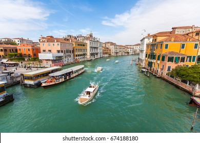 Tourism and sightseeing, water buses and taxes on Grand Canal in Venice