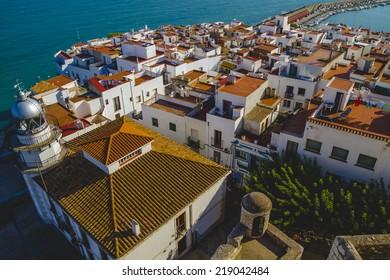 Tourism, spanish landscape with deep blue sea andmediterranean  architecture