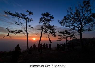 tourism  in sunset environment at Phu kra dueng, Thai north east national park