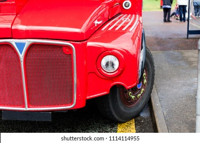 Tourism and touristic travel with legendary double decker bus. Red busses parked on the street. London s red double decker car parked on the road. transport on the bus stop.