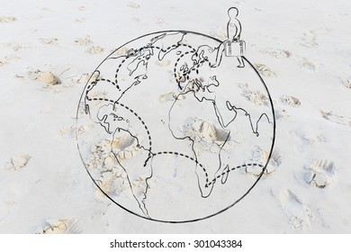 tourism and travel: globetrotting man with bag and intended travel paths