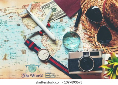 Tourism travel Information brochure. Traveler tour accessories maps, passport items man tourism backpack and visiting for planning business trips destination travel vacations world. Summer holiday