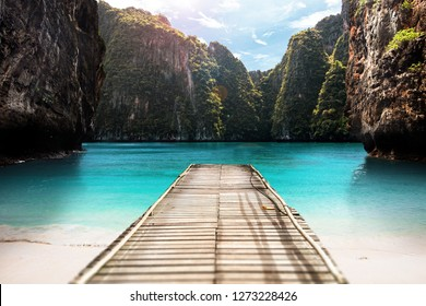 Tourism, travel or vacations concept. Tropical resort in Thailand. Andaman sea jetty in lagoon - Exotic Paradise