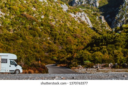 Tourism vacation and travel. Camper van motorhome on nature in Greece