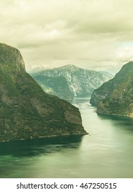 Tourism vacation and travel. Fantastic view of the Aurlandsfjord landscape from Stegastein viewpoint, Norway Scandinavia.