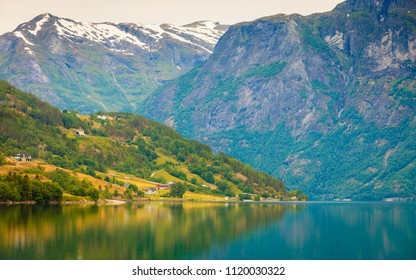 Tourism vacation and travel. Mountains landscape and lake Oppstrynsvatnet in Jostedalsbreen National Park, Oppstryn (Stryn), Sogn og Fjordane county. Norway Scandinavia.