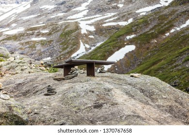 Tourism vacation and travel. Serene mountains landscape with rest place benches, Norway Europe.