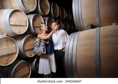 Tourism-Couple visiting a castle in the Bordeaux vineyard