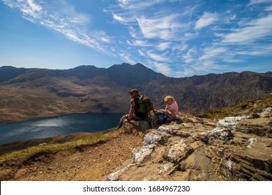 Tourist admiring the beautiful Snowdonia National Park. Snowdon 21/04/2019 Wales.