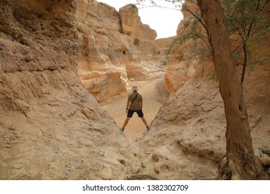 A Tourist admiring the mighty Sesriem Canyon, a natural gorge carved by the powerful Tsauchab River millions of years ago. Namibia