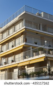 Tourist apartment buildings with balconies  in Roc de Sant Gaieta, Tarragona, Catalonia, Spain.