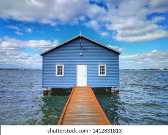 Tourist attraction of Blue Boat House.with sky blue above background, Perth, Australia..