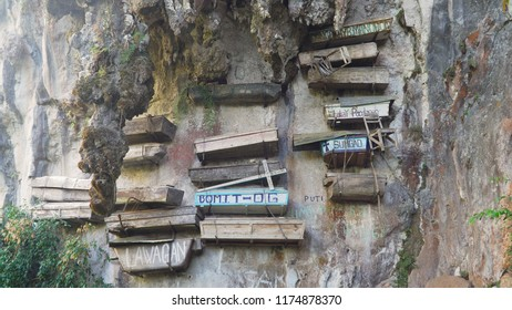 Tourist attraction Hanging coffins of Sagada. Philipphines hanging cemetery in the mountain cliff. Philippines, Luzon.