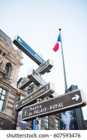 Tourist attraction street signs in Paris- France