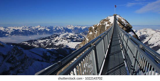 Tourist attraction in the Swiss Alps. Glacier des Diablerets.