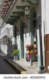 Tourist attractions and destination scenic. View of street of Casco Antiguo, Panama City