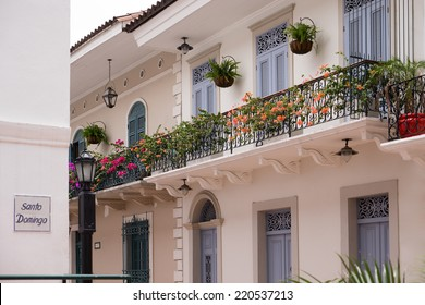 Tourist attractions and destination scenics. View of pictouresque street of Casco Antiguo, Panama City