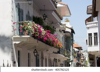 Tourist attractions and destination scenics. View of street in Casco Antiguo, Panama City