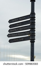 Tourist attractions sign post in the town of Hartlepool on the North Sea Coast, England.