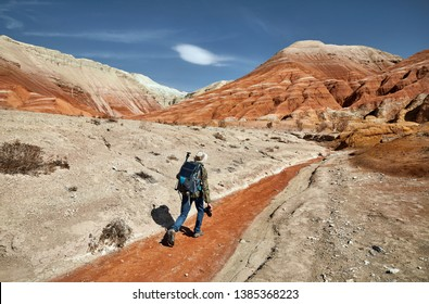 Tourist with backpack and camera walking at the dusty canyon on surreal red mountains against blue sky in the desert