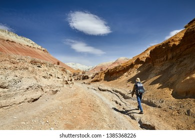Tourist with backpack and camera walking in dusty canyon on surreal red mountains against blue sky in the desert