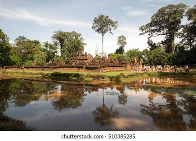 Tourist at Banteay Srei  ,ia ancient temple of Khmer, Siem Reap, Cambodia.
