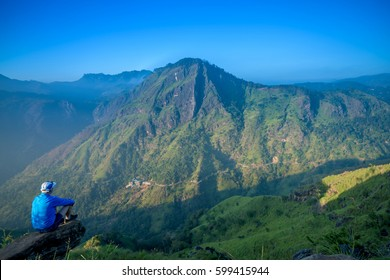 tourist at beautiful landscape in Little Adams's peak, Ella, Srilanka