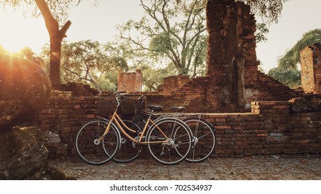 Tourist Bicycle at Wat Phra Si Sanphet temple in Ayutthaya Historical Park, a UNESCO world heritage site, Thailand